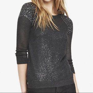 Gray Rhinestud Embellished Open Mesh Sweater